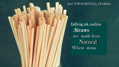 Natural Wheat Drinking Straws -100% Biodegradable, Eco-Friendly Disposable Straw
