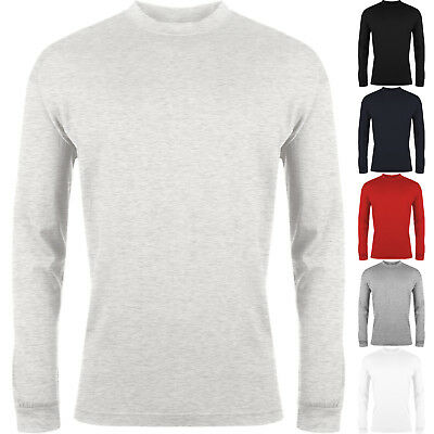 New Mens Long Sleeve T Shirt Plain Crew Neck Casual 100% Cotton Soft Tee Top