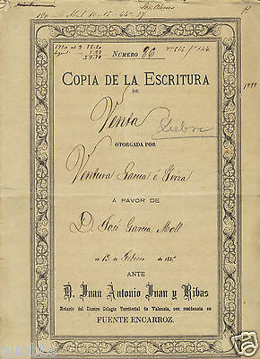 Copia Escritura  Antiguo 1885 . Old Paper. Notario