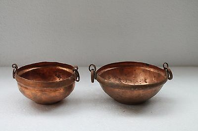2 Pc Old Hand Crafted Small Size Pure Copper Kadhai Kitchenware Utensils NH2920