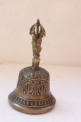 Vintage Handcrafted Brass Tibetan Himalayan Ritual Religious Temple Bell NH3112