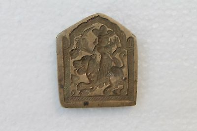 Antique Old Handcrafted Brass Goddess Figure Jewelry Dye Mould Seal Stamp NH2992