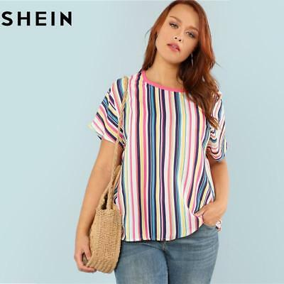 6cbfb46a489 SHEIN New Round Neck Striped Casual Half Sleeve Summer Tops for Women 2018  Polye