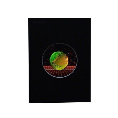 Earth with Grid Small Round Hologram Picture MATTED, 3D Embossed Type Stereogram