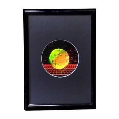 Earth with Grid Round Small Hologram Picture FRAMED, 3D Embossed Type Stereogram