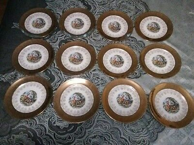 Antique Plates, SUPREME Brand, 22 KT gold hand painted. (Set of 12)