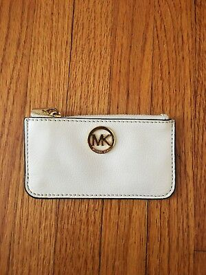 621ca2850434eb MICHAEL KORS | Leather Coin Purse Key Pouch Case w/Key Ring, White/