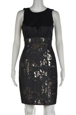 a0803b0c Elie Tahari Dress Size 4 Black Silver Sheath Silk Sleeveless Above Knee  Party