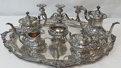 Francis I Reed & Barton Sterling Silver Tea Set 8pc w/ Sterling Tray