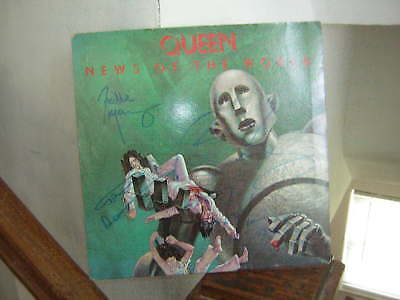 Queen Signed Lp News Of The World 1977 Freddie Mercury Deacon May Taylor X4