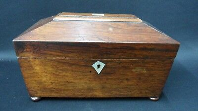 Antique Rosewood English Tea Caddy Original Finish.