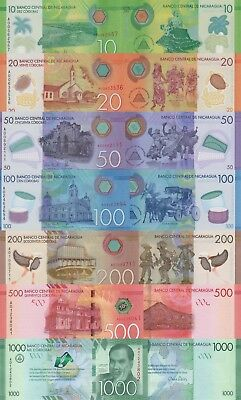 Nicaragua 7 Note Set: 10 to 500 Cordobas and Commemorative 1000, p209-p214 UNC