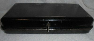 Vintage Antique  metal document box with key