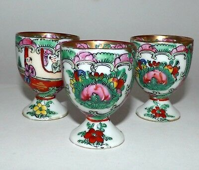 Antique Chinese Export Rose Medallion Porcelain Egg Cups