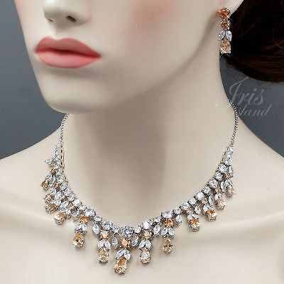 White Gold Plated Topaz Cubic Zirconia Necklace Earrings Wedding Jewelry Set 676