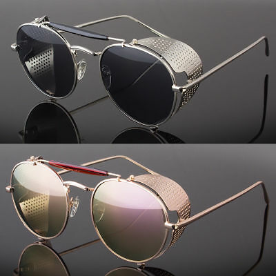 Mens Gold Vintage Retro Steampunk Gothic Side Shield Hipster Round Sunglasses