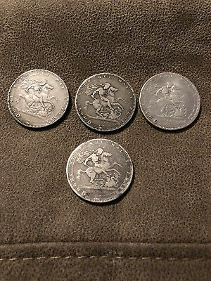 4 George III Silver Crowns - 1819 (LIX & LX) 1820 (LX) and Another