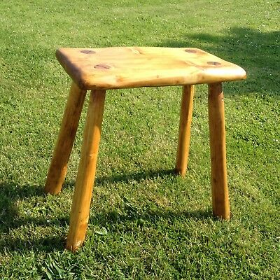 Rustic wooden stool, individually hand made with an antique pine wax finish.
