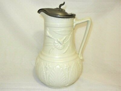 T. Booth Pewter Mounted Stoneware Floral Relief Pitcher Jug Antique Victorian