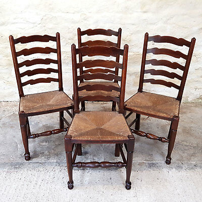 C18th Style Set of 4 Elm Country Ladderback Rush Seated Kitchen Dining Chairs