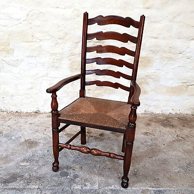 C18th Style Elm Country Ladderback Rush Seated Open Armchair Carver (Dining)