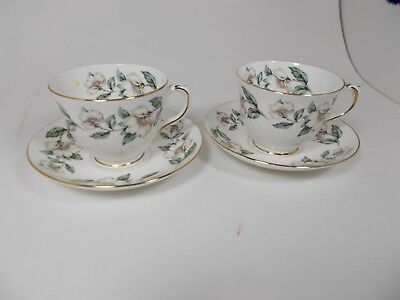 Crown Staffordshire Pattern #16521 2 Cups & 2 Saucers White Dogwood Flowers