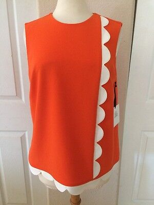 892aebeb76 Plus Size XL New Victoria Beckham for Target Orange   White Scalloped Top