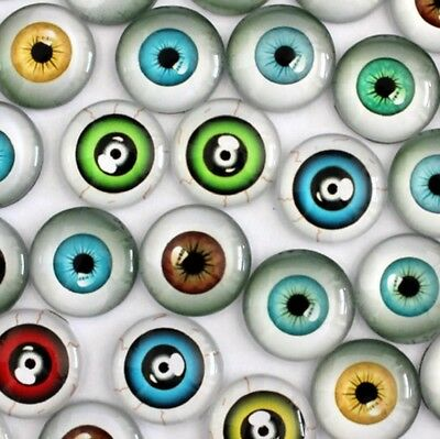 10 Human Eyeball Cabochons Mixed Round Glass Cabochon Flat Back Eye All Sizes UK