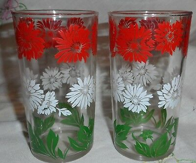 Vintage Swanky Swig Lot of 2 Glass Tumbler  Red White Flowers