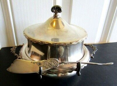 1895 Rare Poole Silver High Domed Butter Dish Ice Compartment Butter Knife  Rest