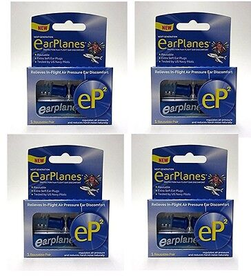 Lot of 4 Boxes Improved EarPlanes Extra Soft Reusable Ear Plugs ~WW Ship $14