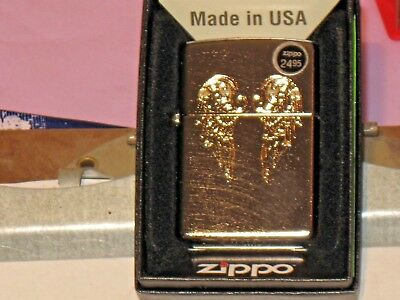 New Genuine ZIPPO Windproof Lighter 11414 Etched Angel Wings Chrome Arch Finish
