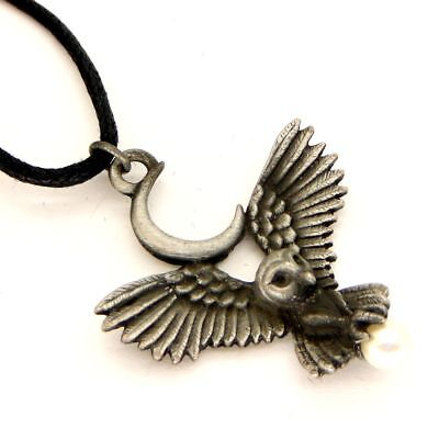 Greenwood Flight of the Goddess Owl Amulet Pendant Necklace Pewter Pearl GW11