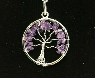 """Amethyst Tree of Life Pendand with free chain """"GENUINE AMETHYST"""""""