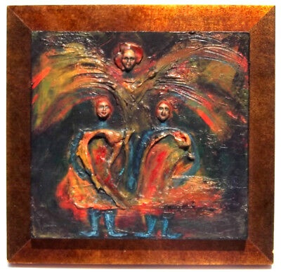 VTG GUARDIAN ANGEL 3D Bas-Relief Oil Painting Antique Primitive King James Bible