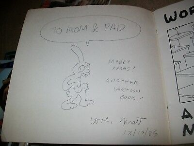 Work Is Hell Cartoon Book Matt Groening Simpsons Signed Sketched Unique See Pics