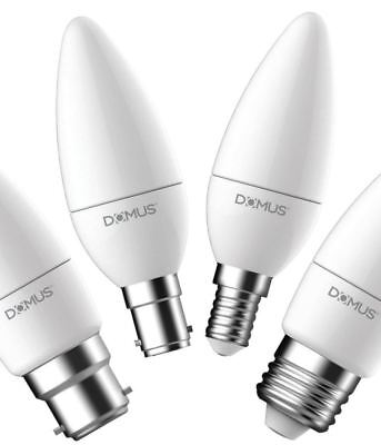 Domus LED Frosted Candle Bulb Lamp 6W Dimmable ES E14 E27 BC B15 B22 2700K 6500K