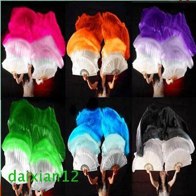 1.5m 1.8m Long Belly Dance 100% Silk Bamboo Fan Veil 1 Pair(left+right) 6 Colors