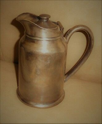 """Vintage Reed & Barton Silver Soldered 6"""" Hinged Lidded Pitcher #305 1P 137 O.H."""