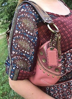 COACH Authentic HOBO LEATHER Rare LIMITED EDITION Studded Pink Purse 75450e12a7781