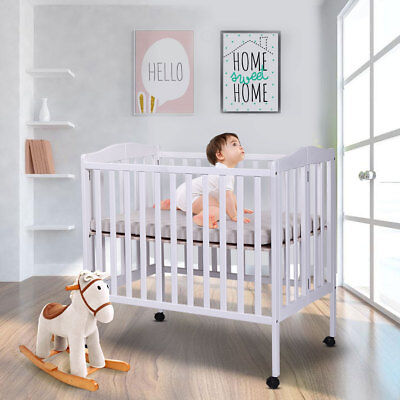 2 in 1 Wood Baby Crib White Toddler Bed Convertible Nursery Newborn Foldable