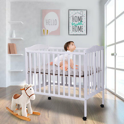 Pine Wood Baby Crib White Toddler Bed Convertible Nursery Infant Newborn