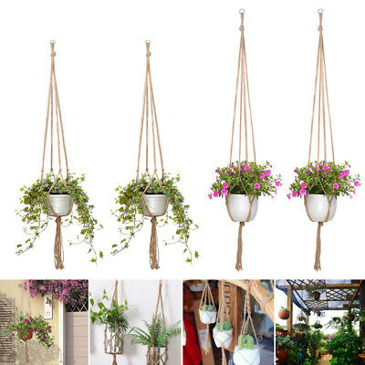 2x Modern Pot Garden Holder Plant Hanger Flower Legs Hanging Macrame Rope Basket