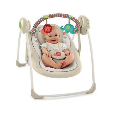 Portable Baby Swing Cozy Infant Comfort Recliner Seat Music Sound Toy 6 Speed