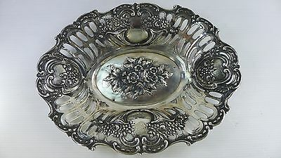 AN OLD SOLID 272 gr. SILVER 800 TRAY & 25 cm. LONG WITH A RAISED DECORATION