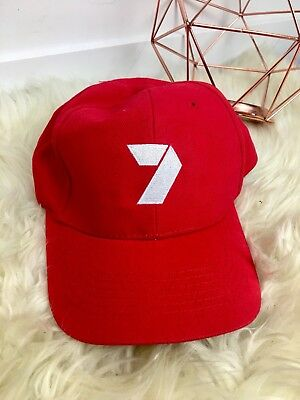 Red cap hat yahoo 7 channel news unisex women men collectible gift work costume