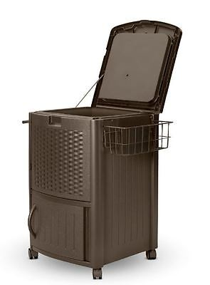 Coolers On Wheels Resin Wicker With Cabinet Outdoor Patio Wheeled Ice Chest  NEW