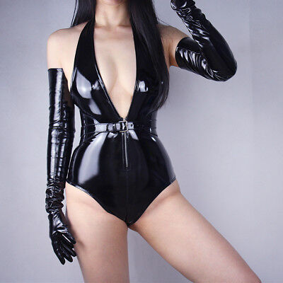 70cm shiny leahter Tech Long Faux Leather Opera Evening Cosplay Gothic gloves