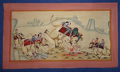 Vintage Old Antique Collectible Hunting Subject King On Elephant Paper Painting
