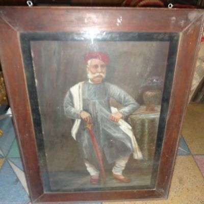Vintage Antique Old Fine Oil Painting On Canvas Of Indian King On Canvas